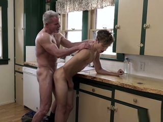 Cute twink visits stepgrandpas big cock for a sleepover
