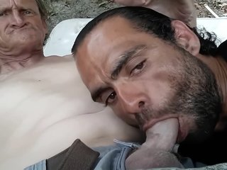 Sucking homeless cock fantasizing about his father