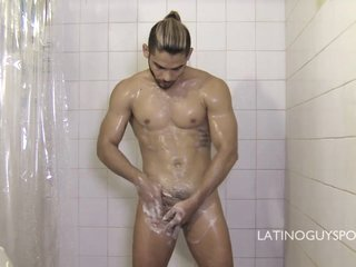 Very Hot Latin Papi Daguy Enjoys A Shower So Refreshing - LatinoGuysPorn