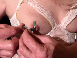 Blonde CD Mature make 4 neddles in your Nipples