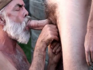 mature man sucking cock outside